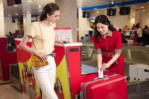 Bay từ Nội Bài, khách hàng của Vietjet làm thủ tục tại sảnh A nhà ga T1