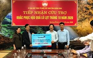 Mặt trận tỉnh Quảng Bình tiếp nhận 3,5 tỷ đồng