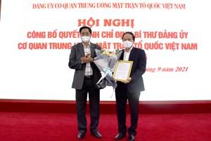 Phó Chủ tịch - Tổng Thư ký Lê Tiến Châu giữ chức Bí thư Đảng ủy Cơ quan Trung ương MTTQ Việt Nam