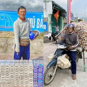 Bắt quả tang đối tượng cải trang thành người bán bắp để vận chuyển thuốc lá lậu