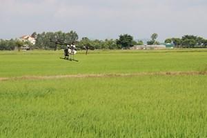 Nam Định: Dùng máy bay không người lái giúp dân thôn bị phong tỏa phun thuốc trừ sâu