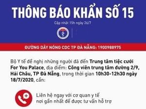 KHẨN: Những ai đến Trung tâm tiệc cưới For You Palace ở Đà Nẵng cần liên hệ y tế gấp