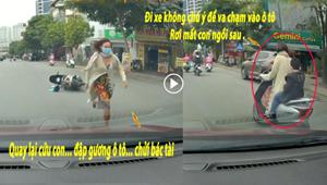 [VIDEO]: Nữ 'ninja đi Lead' va chạm ô tô 'rơi' con xuống đường