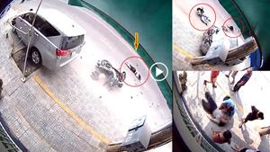 [VIDEO] Khoảnh khắc xe ô tô 7 chỗ mất lái đâm thương vong 2 người