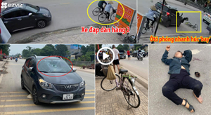 [VIDEO] Đi xe đạp dàn hàng 2, cụ bà bị ôtô Vinfast phóng nhanh húc 'bay'