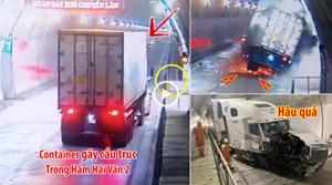 [VIDEO] Gãy cầu trục, xe container mất lái đâm vào thành hầm Hải Vân 2, tóe lửa