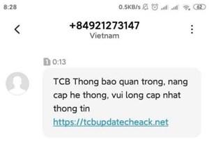 Cảnh báo tin nhắn giả mạo ngân hàng để lừa tiền