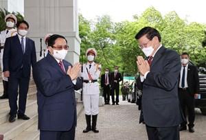 Thủ tướng Phạm Minh Chính hội kiến Tổng Bí thư, Chủ tịch nước Lào Thongloun Sisoulith