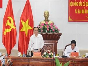 Phó Chủ tịch Thường trực Quốc hội Trần Thanh Mẫn kiểm tra công tác bầu cử tại tỉnh Tiền Giang