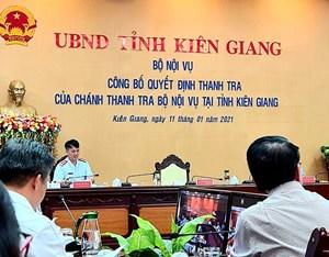 Bộ Nội vụ thanh tra toàn diện các đơn vị trực thuộc UBND tỉnh Kiên Giang