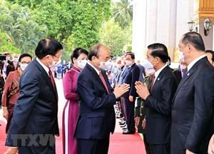 TBT, Chủ tịch nước Lào đón, hội đàm với Chủ tịch nước Nguyễn Xuân Phúc