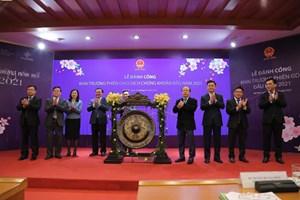 Lễ đánh cồng khai trương phiên giao dịch chứng khoán đầu năm 2021