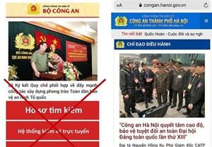 Cảnh báo trang web giả mạo Công an Hà Nội có gắn mã độc
