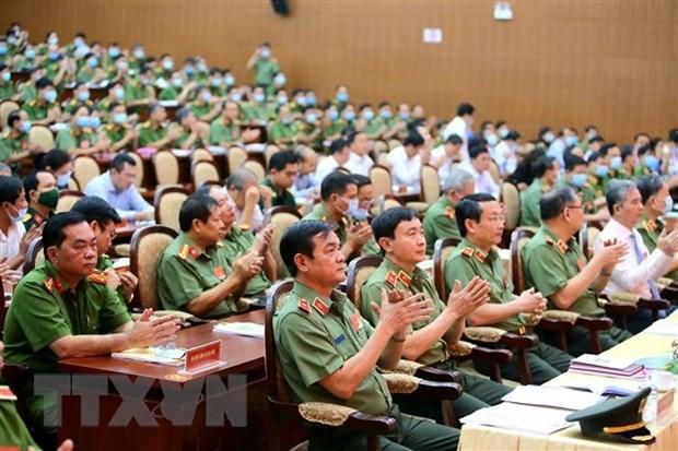Hội nghị triển khai công tác năm 2021 của Công an Thành phố Hồ Chí Minh. (Ảnh: Thành Chung/TTXVN).