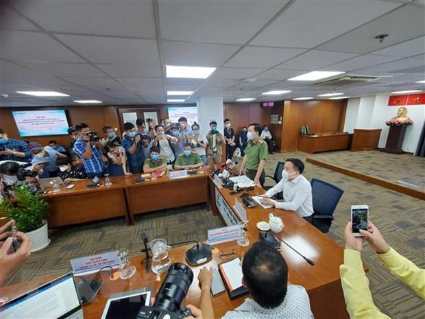 Công an Thành phố Hồ Chí Minh cung cấp thông tin về việc khởi tố vụ án về vụ việc lây lan Covid-19 trong cộng đồng. (Ảnh: Thành Chung/TTXVN).