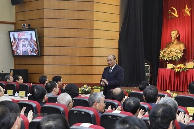 Thủ tướng Chính phủ Nguyễn Xuân Phúc dự hội nghị. (Ảnh: Minh Quyết/TTXVN).