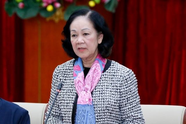 Trưởng ban Dân vận Trungương Trương Thị Mai phát biểu kết luận Hội nghị.
