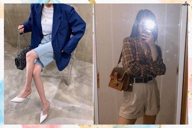 Mix đồ công sở hết sức đơn giản khi bạn chọn cho mình một chiếc quần short ống rộng & blazer cùng tông màu xanh hay với chiếc áo sơ mi caro. Nguồn: Kênh 14, @miyayeah.