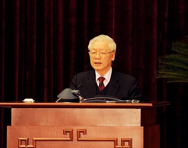 Tổng Bí thư, Chủ tịch nước Nguyễn Phú Trọng phát biểu bế mạc Hội nghị Trung ương 15. Ảnh: VGP.
