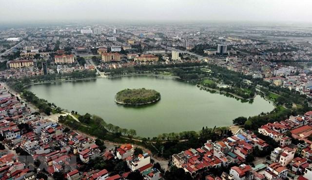 Đảo cò ờ thành phố Hưng Yên nhìn từ trên cao. (Ảnh: Phạm Kiên/TTXVN).