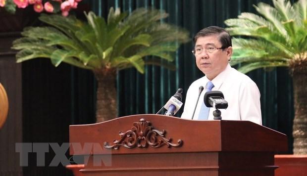 Chủ tịch UBND Thành phố Hồ Chí Minh Nguyễn Thành Phong phát biểu tại hội nghị. (Ảnh: Trần Xuân Tình/TTXVN).