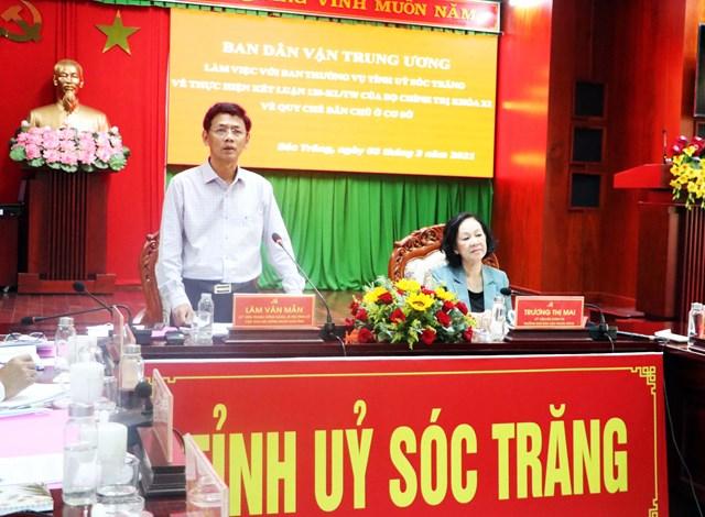 Ông Lâm Văn Mẫn, Ủy viên Trung ương Đảng, Bí thư Tỉnh ủy Sóc Trăng phát biểu tại buổi làm việc.