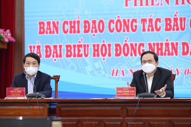 Chủ tịch Trần Thanh Mẫn và Phó Chủ tịch - Tổng Thư ký Hầu A Lềnh chủ trì phiên họp thứ hai Ban Chỉ đạo Công tác bầu cử UBTƯ MTTQ Việt Nam.