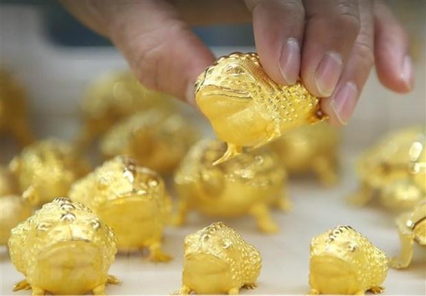 Vàng được bày bán tại sở giao dịch vàng ở Seoul, Hàn Quốc, ngày 19/2/2021. (Nguồn: Yonhap/TTXVN).