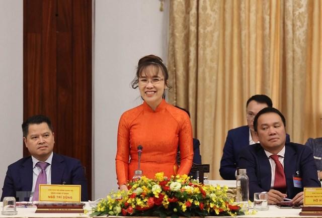 Bà Nguyễn Phương Thảo, Tổng giám đốc Công ty Cổ phần hàng không Vietjet phát biểu. (Ảnh: Thống Nhất/TTXVN).