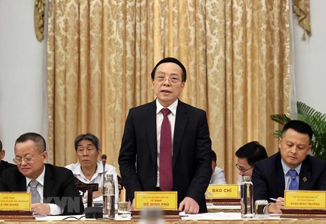 Ông Đỗ Minh Phú, Chủ tịch HĐQT TP Bank phát biểu. (Ảnh: Thống Nhất/TTXVN).