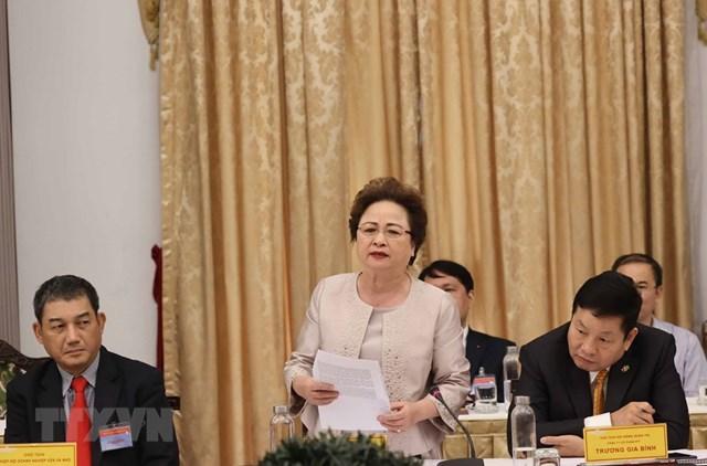 Bà Nguyễn Thị Nga, Chủ tịch Hội đồng quản trị Ngân hàng TMCP Đông Nam Á, Chủ tịch HĐQT Tập đoàn BRG. (Ảnh: Thống Nhất/TTXVN).