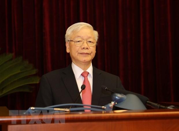 Tổng Bí thư, Chủ tịch nước Nguyễn Phú Trọng phát biểu khai mạc Hội nghị.Ảnh: Trí Dũng/TTXVN.