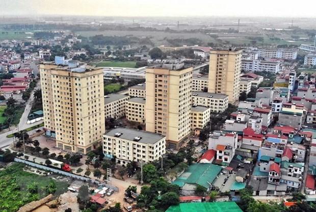 Khu nhà ở xã hội tại Xã Kim Chung, huyện Đông Anh, Hà Nội, dành cho công nhân khu công nghiệp Thăng Long. (Ảnh: Danh Lam/TTXVN).