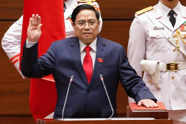 Thủ tướng Chính phủ Phạm Minh Chính tuyên thệ. Ảnh: Quang Vinh.