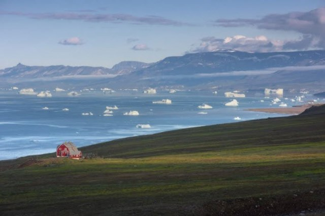 Cảnh tượng được nhìn thấy nhiều nhất ở Greenland là băng trôi, dòng sông băng, màu xanh của thảo nguyên và màu xám của núi.