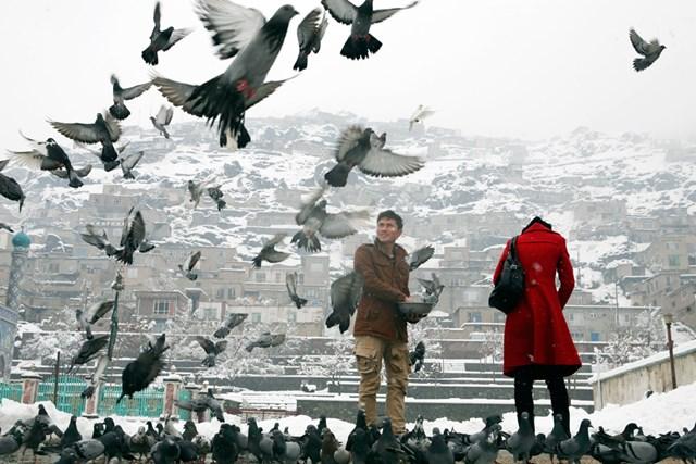 Cho chim bồ câu ăn bên ngoài đền Sakhi (Kabul) được hiểu như một khát vọng hòa bình.