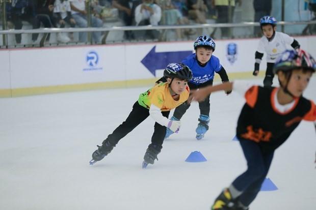 Giải Vô địch trẻ Trượt băng tốc độ quốc gia năm 2021 diễn ra tại Thành phố Hồ Chí Minh. (Ảnh: CTV/Vietnam+).