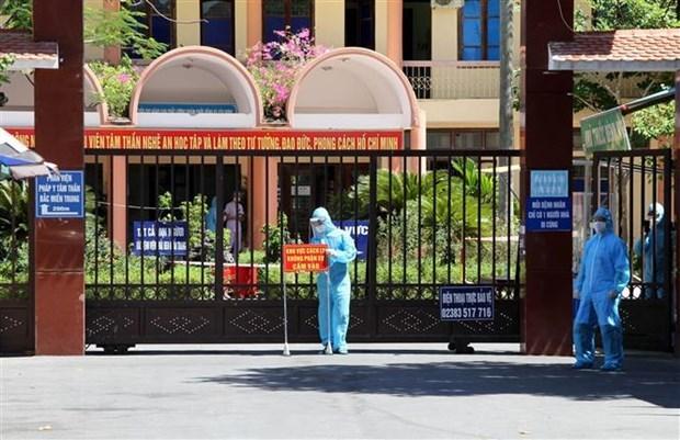 Bệnh viện Tâm thần Nghệ An bị phong tỏa vì có nhân viên dương tính với SARS-CoV-2. (Ảnh: Văn Tý/TTXVN).
