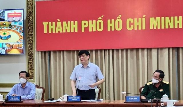 Bộ trưởng Y tế Nguyễn Thanh Long phát biểu tại đầu cầu TP HCM.