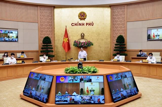 Thủ tướng chủ trì họp trực tuyến với tỉnh Kiên Giang, Tiền Giang. (Ảnh: VGP).