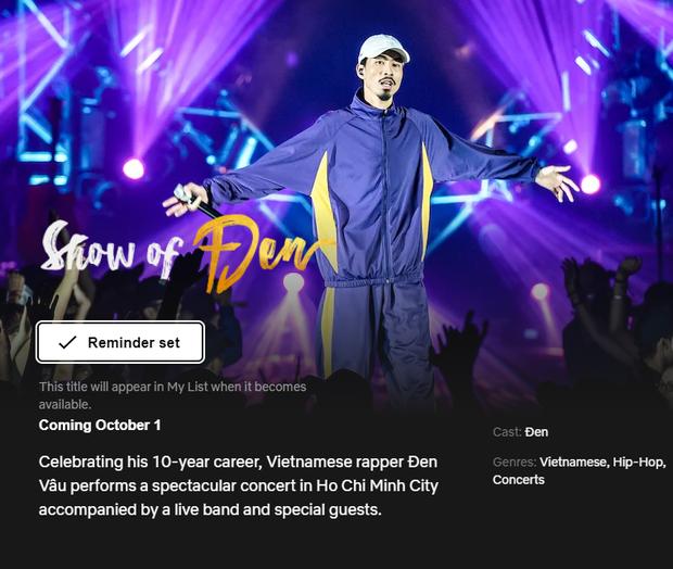 Netflix giới thiệu lịch phát sóng chương trình của Đen.