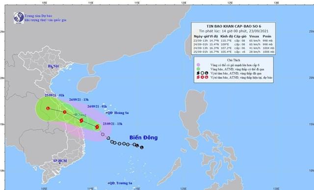 Hình ảnh vị trí và đường đi của bão số 6. (Nguồn: nchmf.gov.vn).