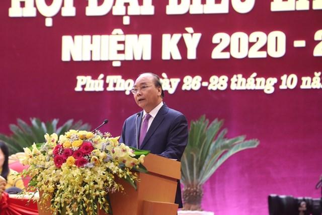 Thủ tướng Nguyễn Xuân Phúc phát biểu tại Đại hội Đảng bộ tỉnh Phú Thọ lần thứ XIX.
