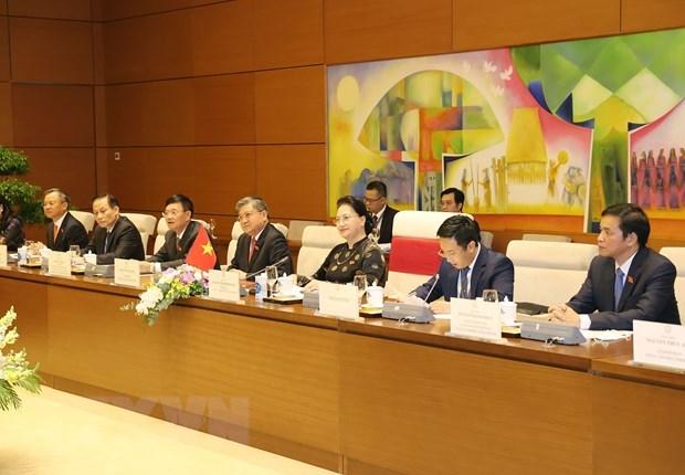 Chủ tịch Quốc hội Nguyễn Thị Kim Ngân và các thành viên Đoàn đại biểu Quốc hội Việt Nam tham dự buổi hội đàm. (Ảnh: Trọng Đức/TTXVN).