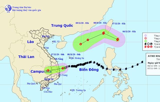 Vị trí và đường đi của áp thấp nhiệt đới và cơn bão Atsani. Nguồn:Trung tâm Dự báo Khí tượng Thủy văn Quốc gia.