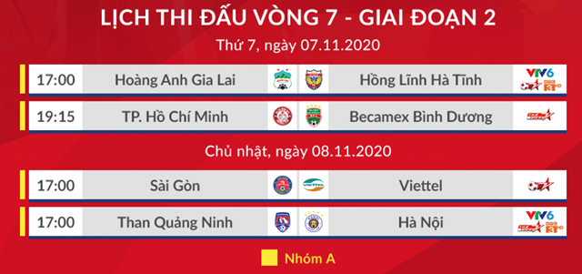 Theo lịch, trận đấu giữa Viettel vs Sài Gòn FC và Than Quảng Ninh vs Hà Nội FC diễn ra vào lúc 17h ngày 8/11.
