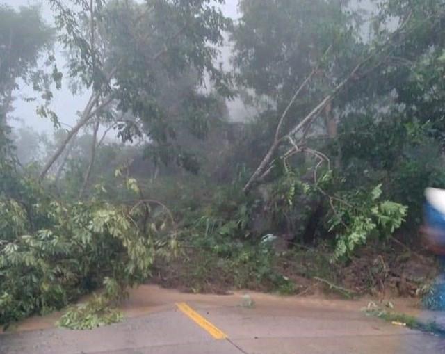 Sạt lở núi gây chia cắt tuyến đường từ trung tâm tỉnh Quảng Ngãi lên huyện Sơn Tây.