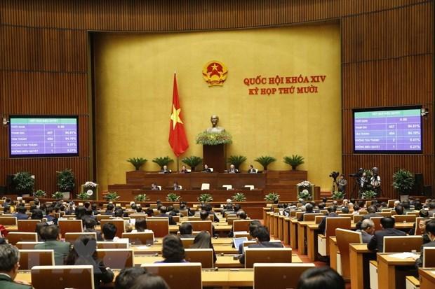 Quốc hội biểu quyết thông qua Nghị quyết kỳ họp thứ 10, Quốc hội khóa XIV. (Ảnh: Doãn Tấn/TTXVN).