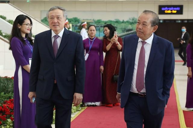 Phó Thủ tướng Thường trực Trương Hòa Bình và Chánh án TAND tối cao Nguyễn Hòa Bình tới dự Lễ kỷ niệm.