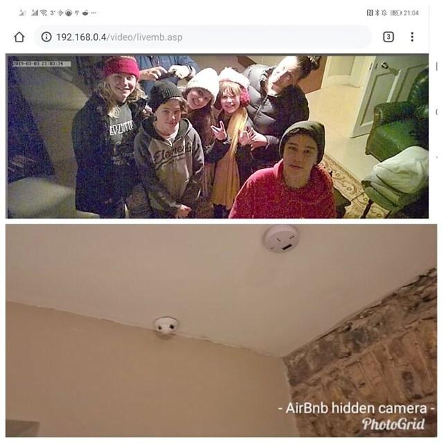 """Khi phát hiện camera quay lén giấu bên trong thiết bị báo cháy, một gia đình đã """"chụp ảnh kỷ niệm"""" trước khi rời đi."""